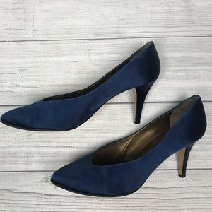 Yves Saint Laurent Navy Blue Satin Pumps Heels